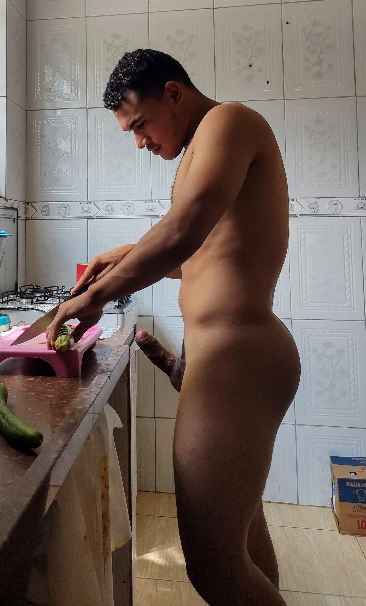 erecto en la cocina