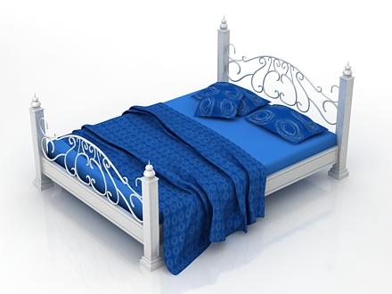 white bed 3d model