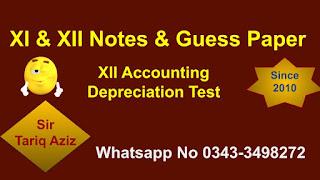 XII Accounting Depreciation Test