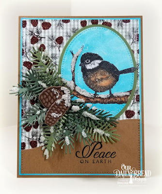 Our Daily Bread Designs Stamp Set: Winter Chickadee, Paper Collection: Christmas 2017, Custom Dies: Curvy Slopes, Pine Branches, Pine Cones, Pierced Ovals, Ovals, Pierced Rectangles