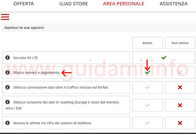 Iliad Area personale Getisci le tue opzioni disattivare numeri a pagamento