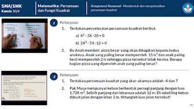 Kunci Jawaban Matematika SMA/SMK Persamaan dan Fungsi Kuadrat Bu Anah membeli pizza besar yang akan dibagikan kepada kedua anaknya