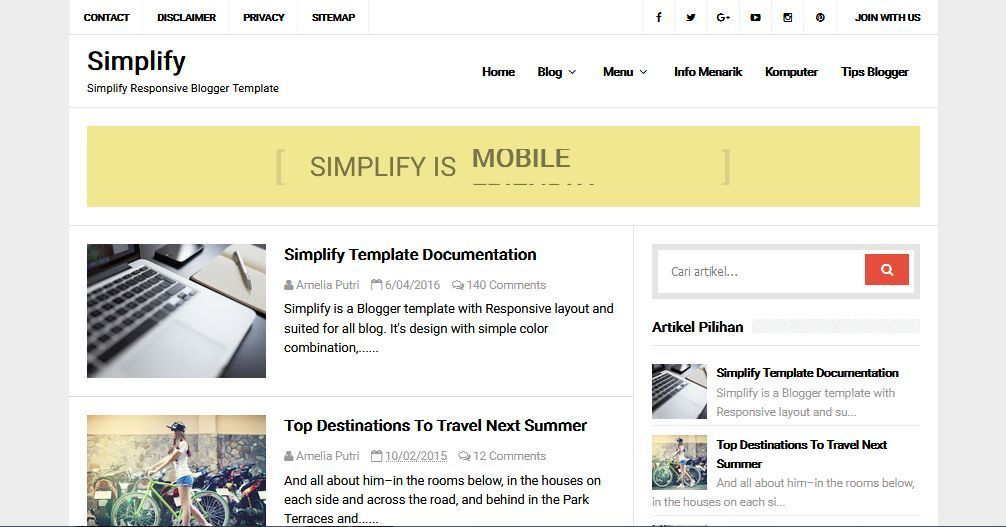Simplify Template Blog Simple Sederhana Gratis