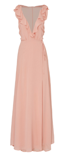 blush long flowly bridesmaid dress