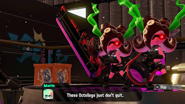 Splatoon 2 Octo Canyon Octoling Workout Marie these octolings just don't quit close-up kelp
