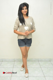 Actress Model Shamili (Varshini Sounderajan) Stills in Denim Shorts at Swachh Hyderabad Cricket Press Meet  0045.JPG
