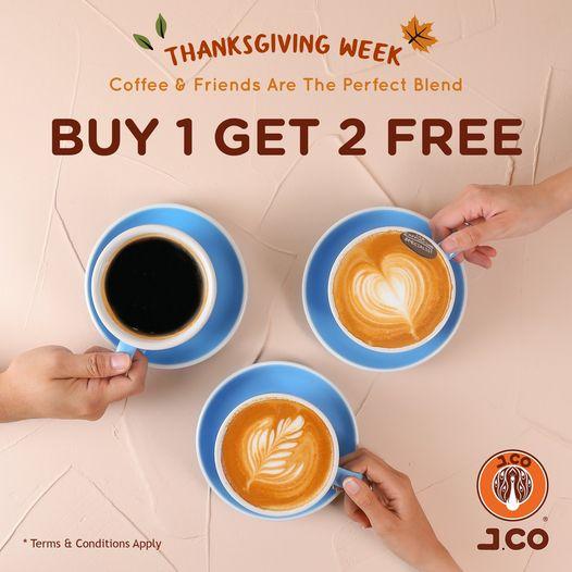 J.CO Donuts & Coffee: 買一送二 至11月27日