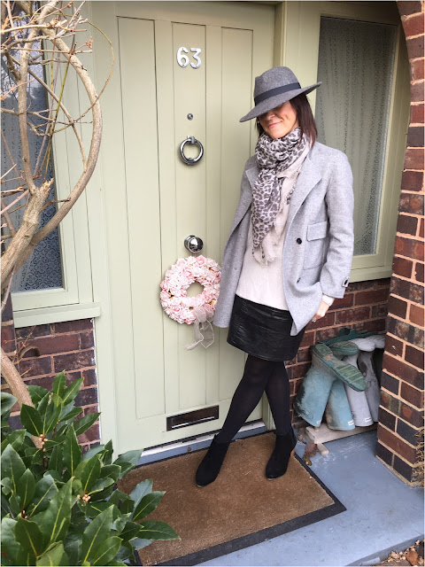 My Midlife Fashion, zara fedora felt hat, massimo dutti leopard print scarf, zara handmade wool coat, boden cashmere jumper, zara faux leather a line skirt, block heeled ankle boots