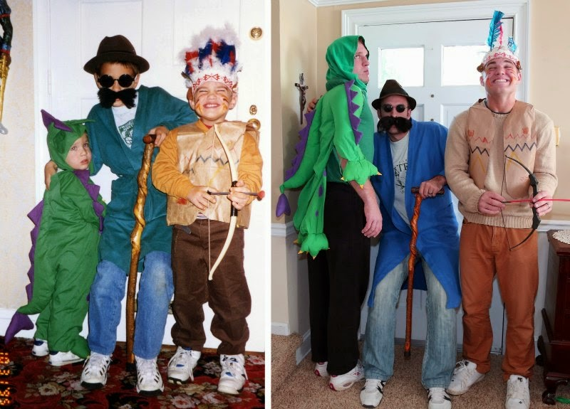 Watch Brothers Recreate their Childhood Photos as Christmas gift for Mom via geniushowto.blogspot.com recreating the costume party scene while the dinosaur seems to have turned into hulk