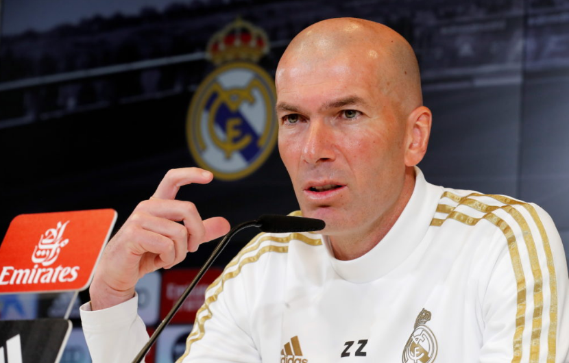 Real Madrid manager Zinedine Zidane speaking at press conference