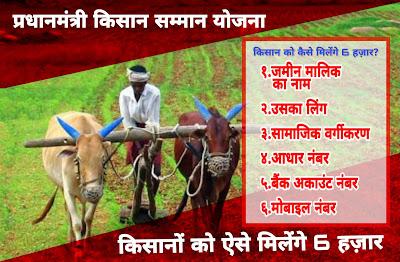 किसान को कैसे मिलेंगे 6 हज़ार सालाना।प्रधानमंत्री किसान सम्मान निधि योजना के लिए क्या करना पड़ेगा।