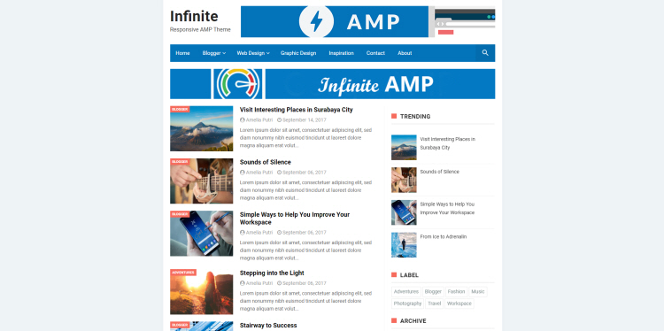 AMP Blogger Template, download free blogspot theme 2018