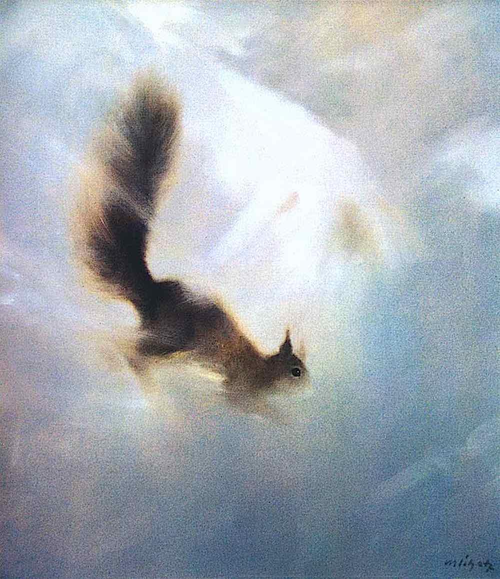 a Manfred Schatz illustration, a squirrel in snow