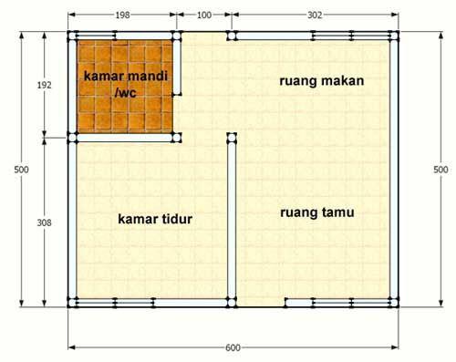 Contoh Denah Desain Rumah Petak 2 Kamar Tidur Minimalis