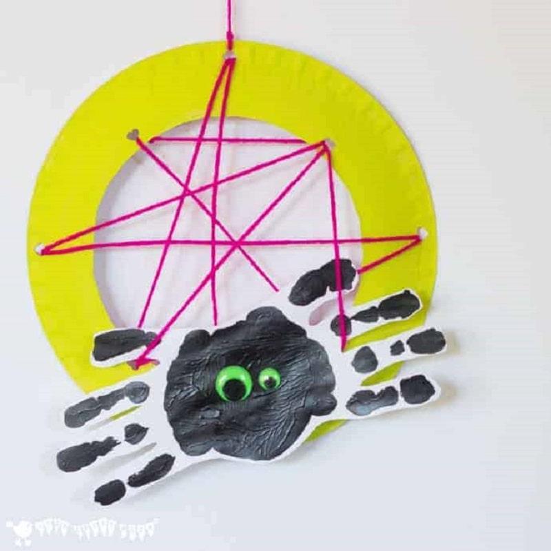 spider hand print craft