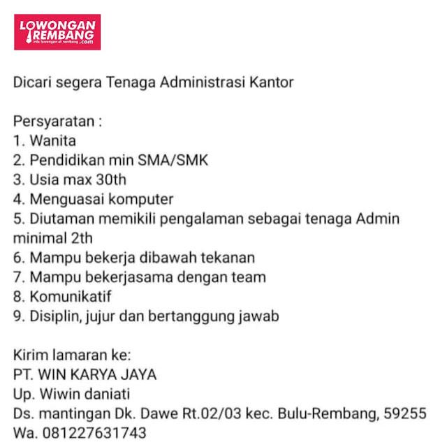 Lowongan Kerja Tenaga Administrasi Kantor PT Win Karya Jaya Rembang