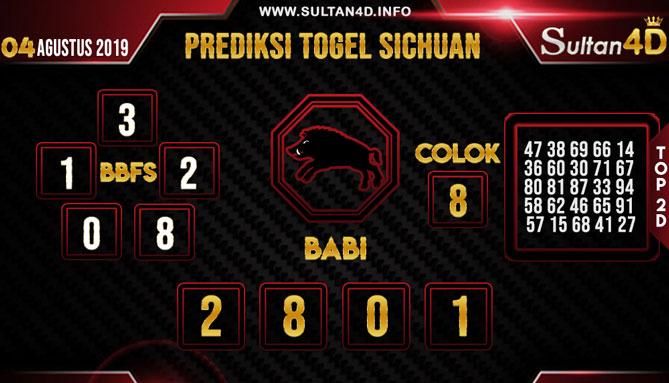 PREDIKSI TOGEL SICHUAN SULTAN4D 04 AGUSTUS 2019
