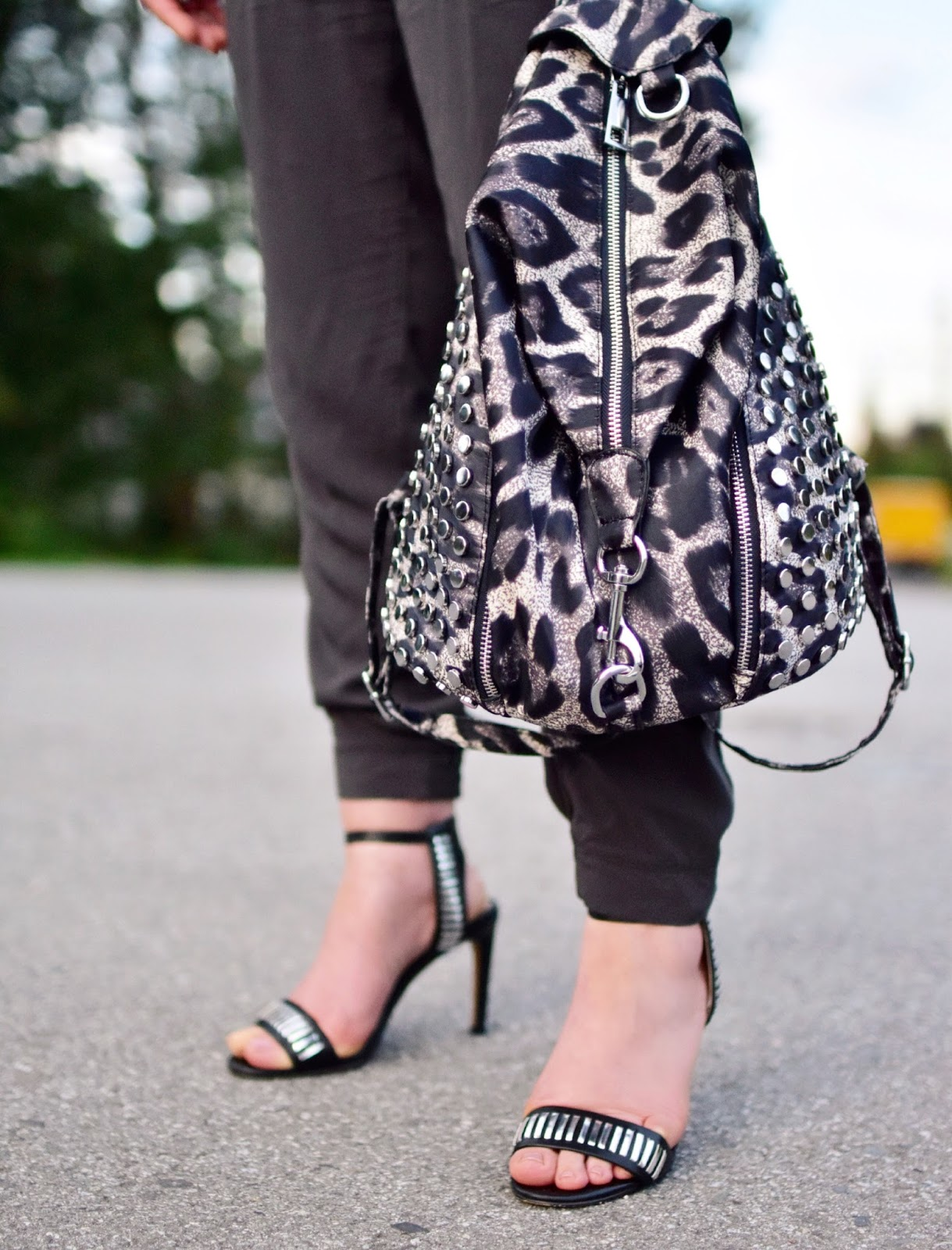 jumpsuit, French Connection ankle-strap heels, leopard-print backpack