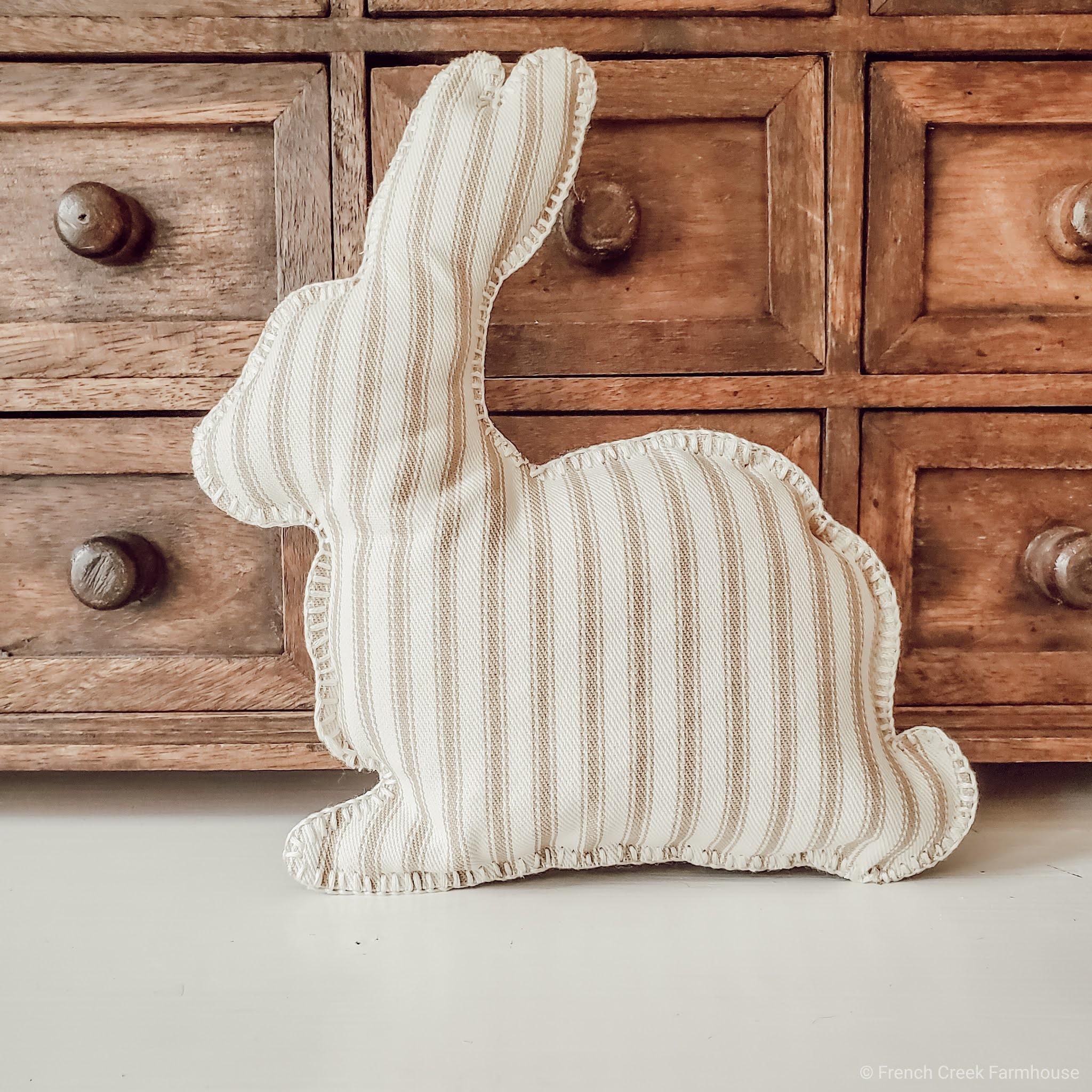 Ticking Stripe Farmhouse Bunny