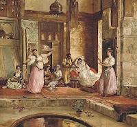 Osmanlı Haremi ve cariyelerin tasviri bir resmi