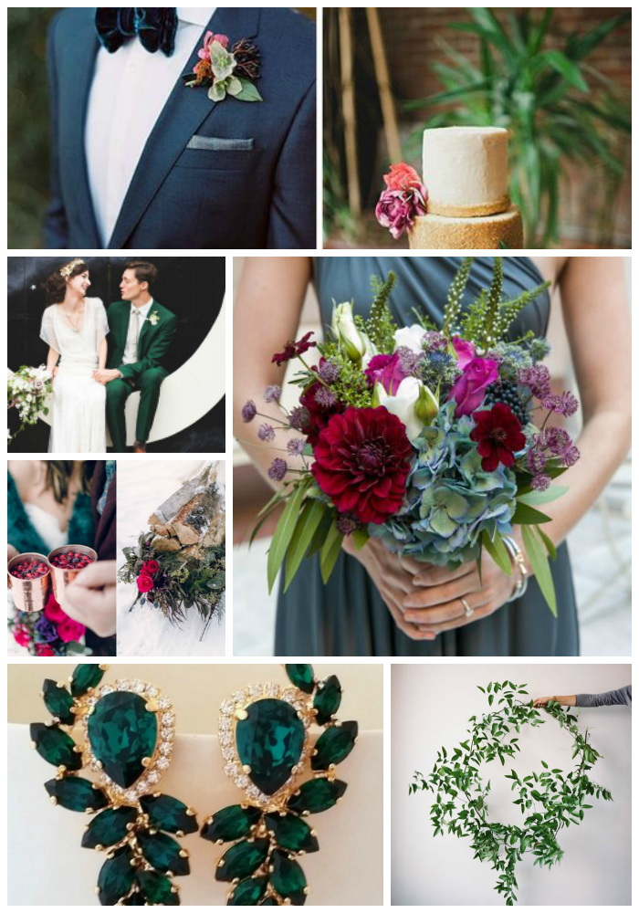 green and berry winter wedding inspiration