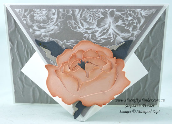 #thecraftythinker #arrowfold #funfold #peonydies #peonygardendsp #stampinup #cardmaking , Arrow Fold Card, Fun Fold, Peony Dies, Old World Paper Embossing folder, Peony Garden DSP, Stampin' Up Demonstrator, Stephanie Fischer, Sydney NSW