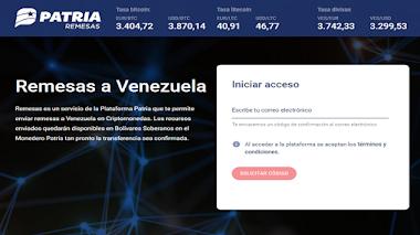 Actualización funcionamiento de plataforma de remesas y criptomonedas en el sistema Patria