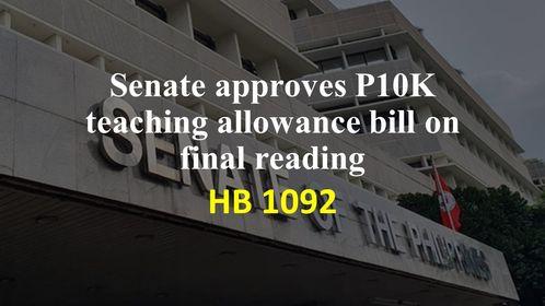 Senate approves P10K teaching allowance bill on 3rd, final reading