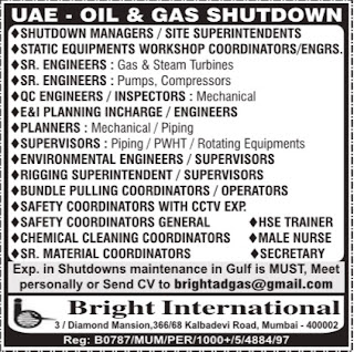 Oil & Gas Shutdown jobs in UAE 2017