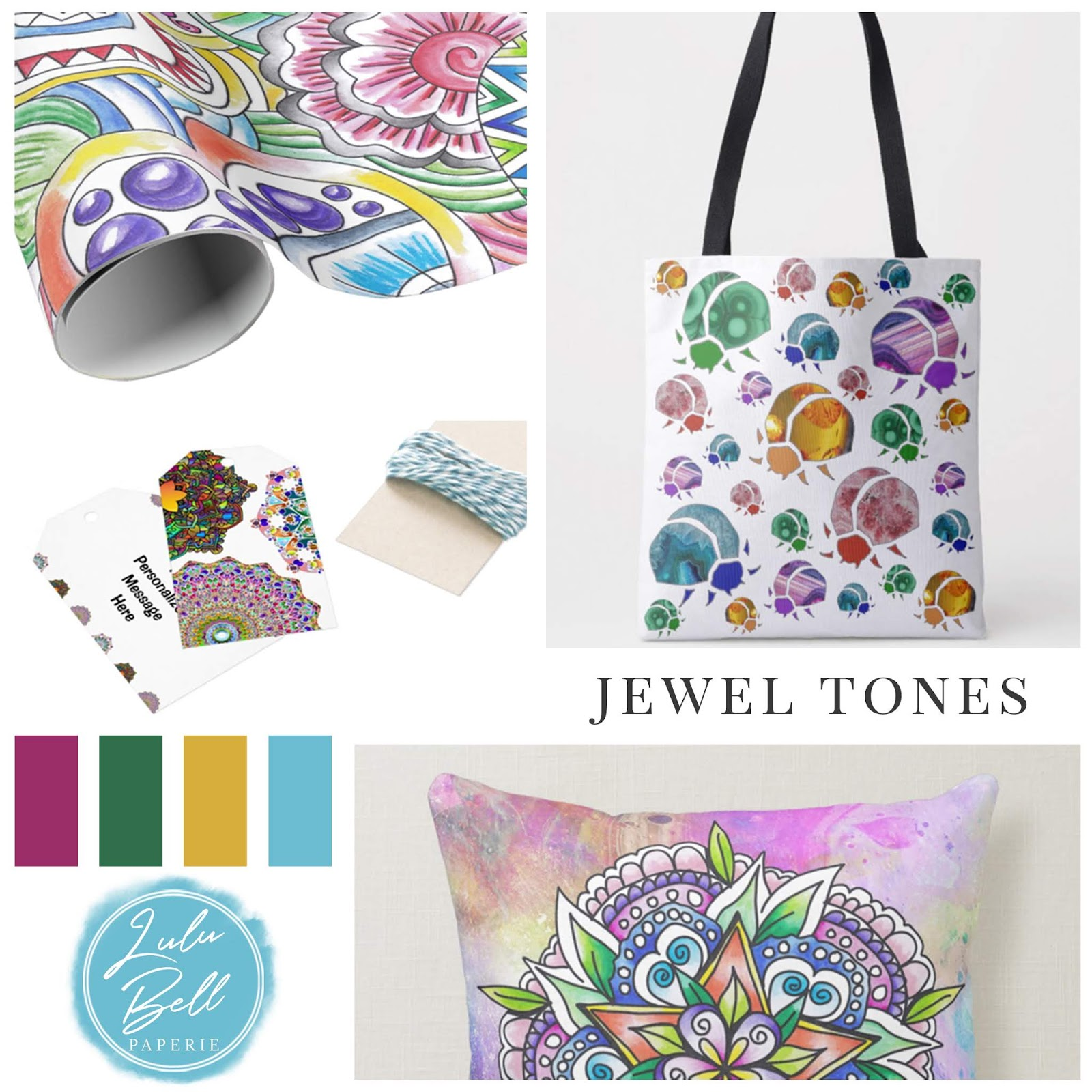 Bohemian Rainbow Home & Gifts Collection - Custom Gift Wrap Paper, Jewel Beetle Tote Bag, Personalized Gift Tags, and Mandala Throw Pillow