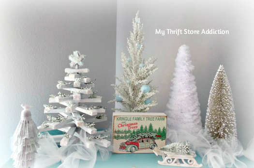 A Thrift Store Christmas Tree Farm mythriftstoreaddiction.blogspot.com Upcycle old thrift store finds and clearance ornaments to create this wintry Christmas tree farm