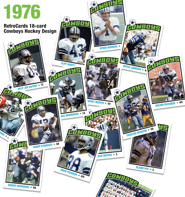 Topps Hockey 1975 1976 Roger Staubach, Preston Pearson, Harvey Martin, Butch Johnson, John Fitzgerald, Blaine Nye, Drew Pearson, Golden Richards, Too Tall Jones, Cliff Harris, Rayfield Wright, Charlie Waters, Billy Joe Dupree, Robert Newhouse, Thomas Henderson, Efren Herrera, Tom Landry