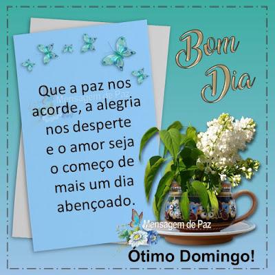 Que a paz nos acorde,  a alegria nos desperte  e o amor seja o começo  de mais um dia abençoado.   Ótimo Domingo! Bom Dia!