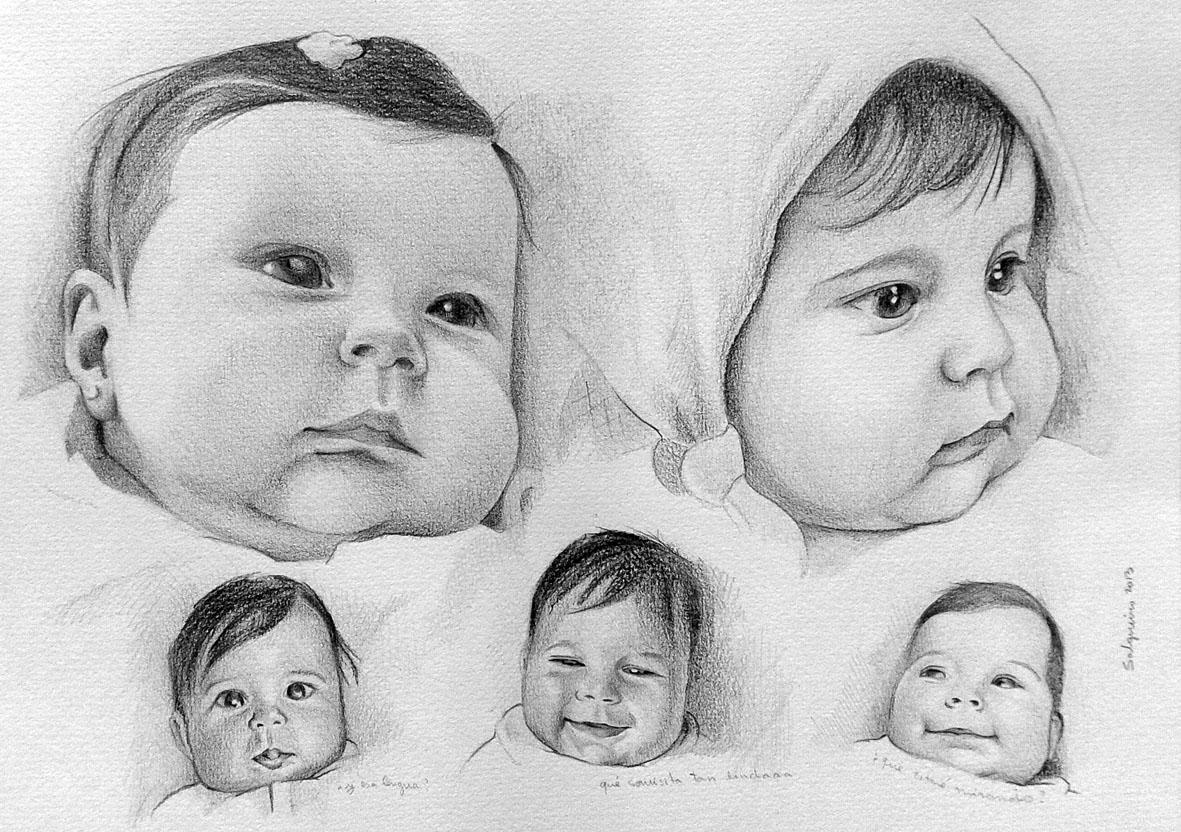 Ilustracion Y Pintura Maria Jose Salgueiro 46 Retrato De Bebe A