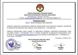 Ayo Daftar..!! Panwaskab Buka Pendaftaran Panwascam se Kabupaten Bojonegoro