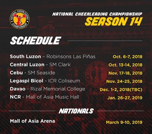 NCC Season 14 full schedule