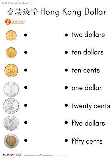 "Mama Love Print 自製工作紙 - 認識香港的錢幣 Level 3 - 認識 ""角"" 和運用 ""元"" 和 ""角"" Hong Kong Money Worksheets Learning Dollars and Cents for K2 K3 Kindergarten Children Learning Money Concept"