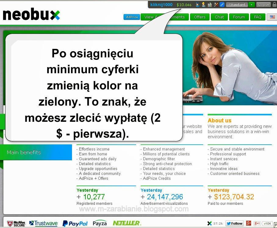Jak wypłacić pieniądze ze strony Neobux? - instrukcja, jak zlecić wypłatę w Neobux.com, wypłata