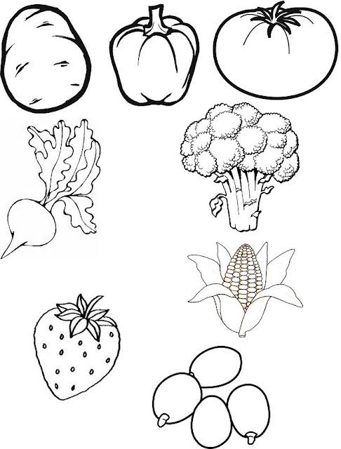 Seleccin De Dibujos Para Colorear Frutas Y Vegetales