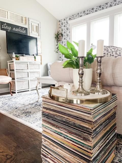 stack records to make home decor