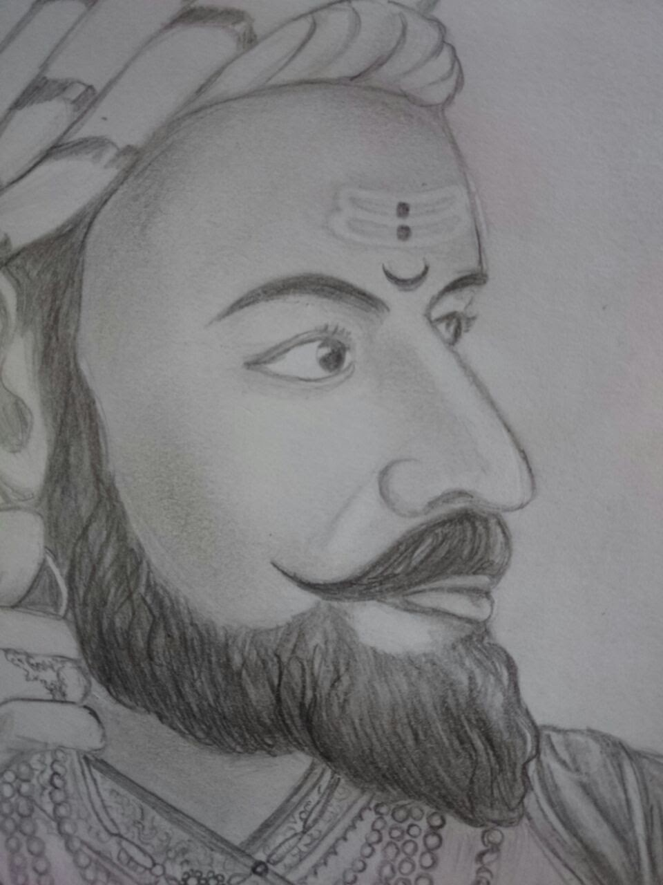 Pencil sketch of shivaji raje