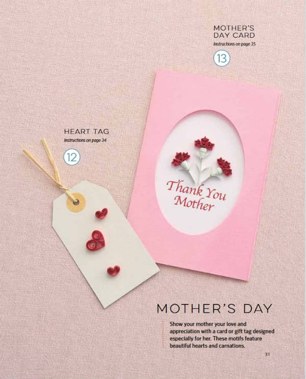 quilled hearts gift tag and quilled floral Mother's Day card
