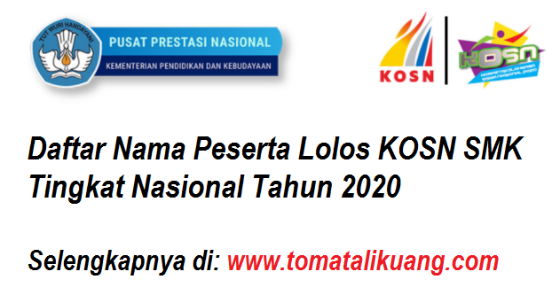 daftar peserta kosn o2sn jenjang smk tingkat nasional tahun 2020 tomatalikuang.com