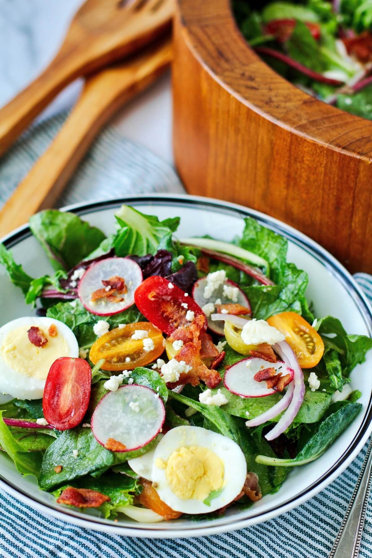 Wilted Mixed Green Salad with Bacon Dressing