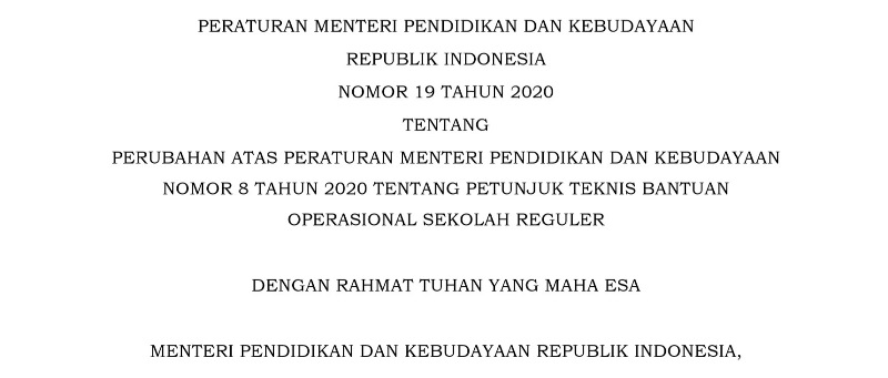 Permendikbud Nomor 19 Tahun 2020 Tentang Perubahan Atas Permendiikbud Nomor 8 Tahun 2020 Tentang Petunjuk Teknis Bantuan Operasional Sekolah Reguler