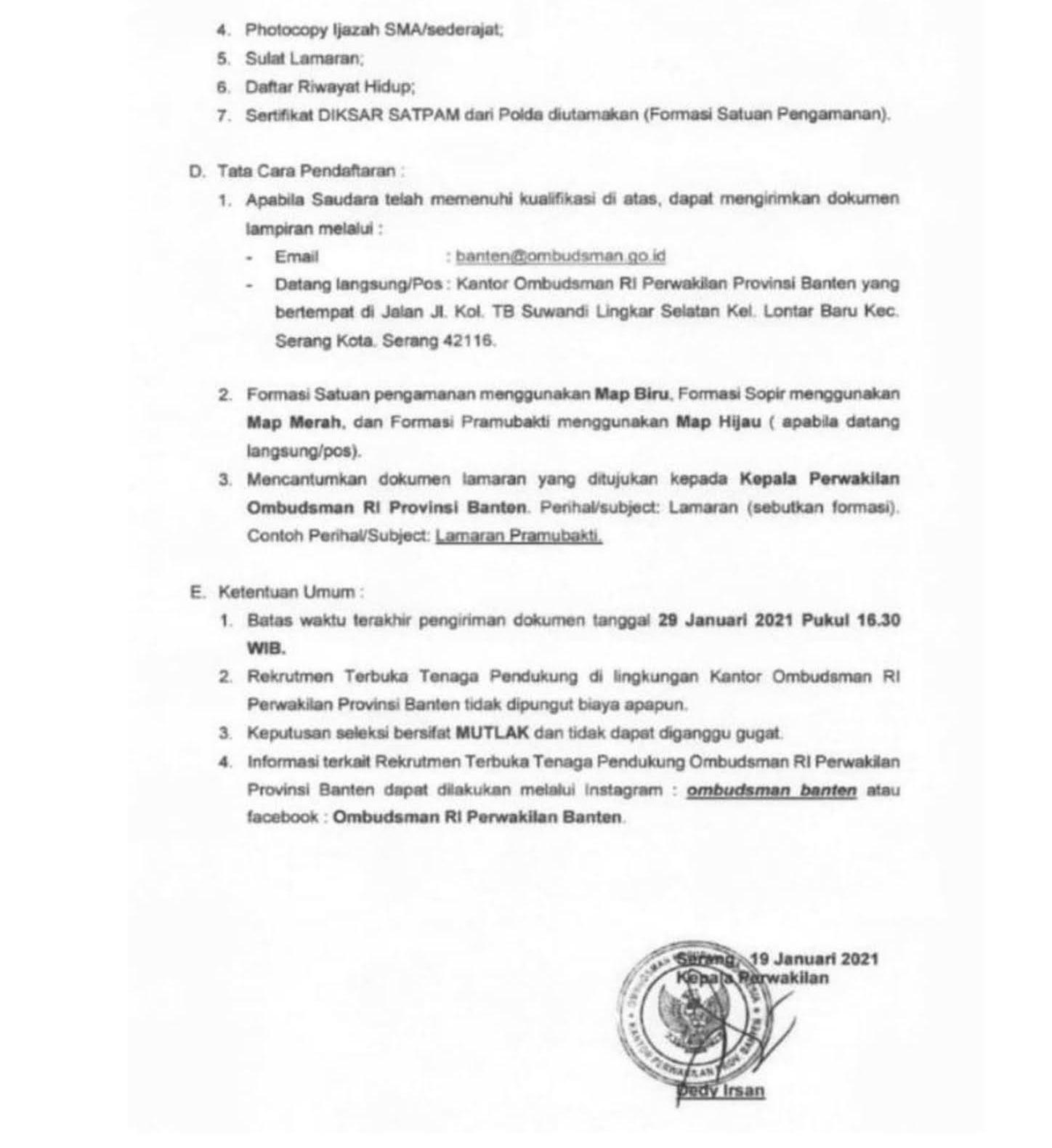 Lowongan Kerja Ombudsman RI Tingkat SMA SMK D3 Tahun 2021