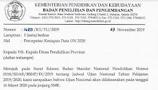 PENTING ! Surat Edaran Percepatan Kesiapan Data UN 2020