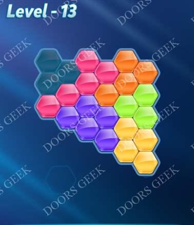 Block! Hexa Puzzle [6 Mania] Level 13 Solution, Cheats, Walkthrough for android, iphone, ipad, ipod