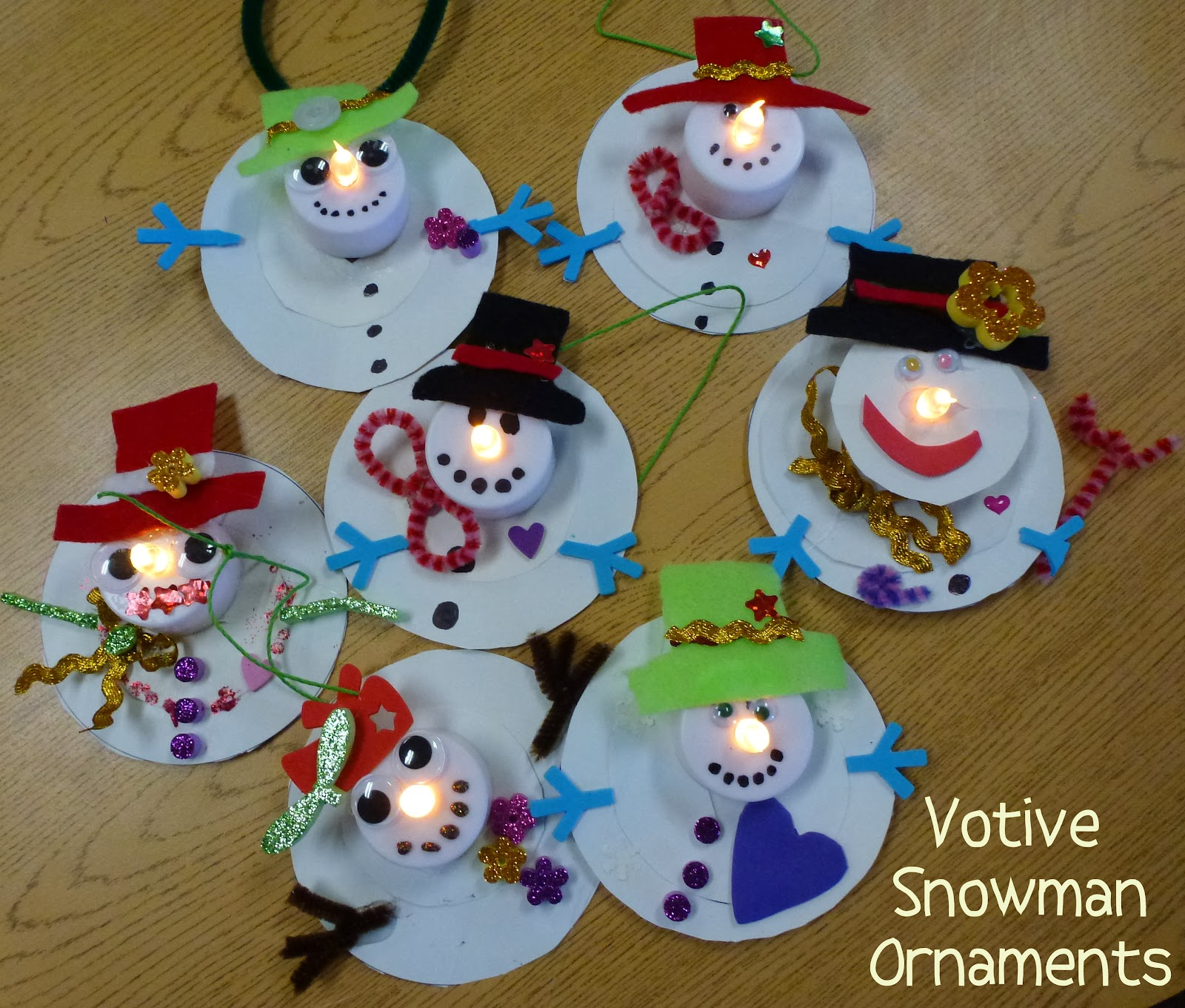 Christmas homemade decorations for kids - Votive Snowman Ornaments Choices For Children