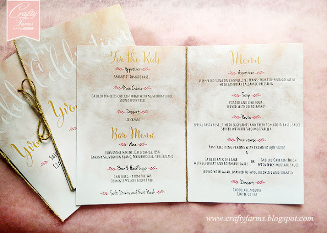 Watercolour Rustic Wedding Menu at Ciao Ristorante Kuala Lumpur